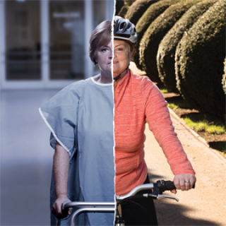 Image split between woman in patient clothes on the left, and woman on bicycle outdoors on the right