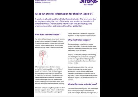 Information Leaflets Stroke Association