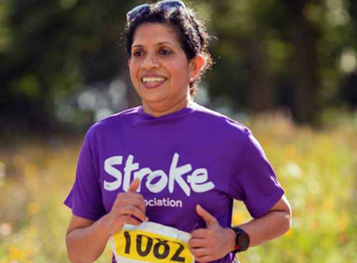 Outdoor runner wearing Stroke Association top