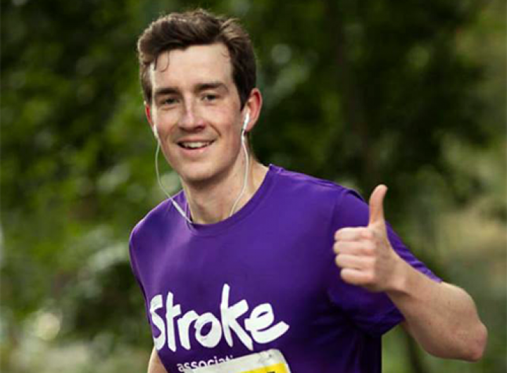 Runner with a single thumbs up