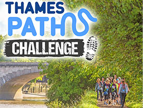 Thames Path Challenge logo and photo of supporters walking through woods