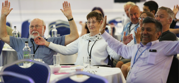 Visitors interacting with presentation at the UK Stroke Assembly