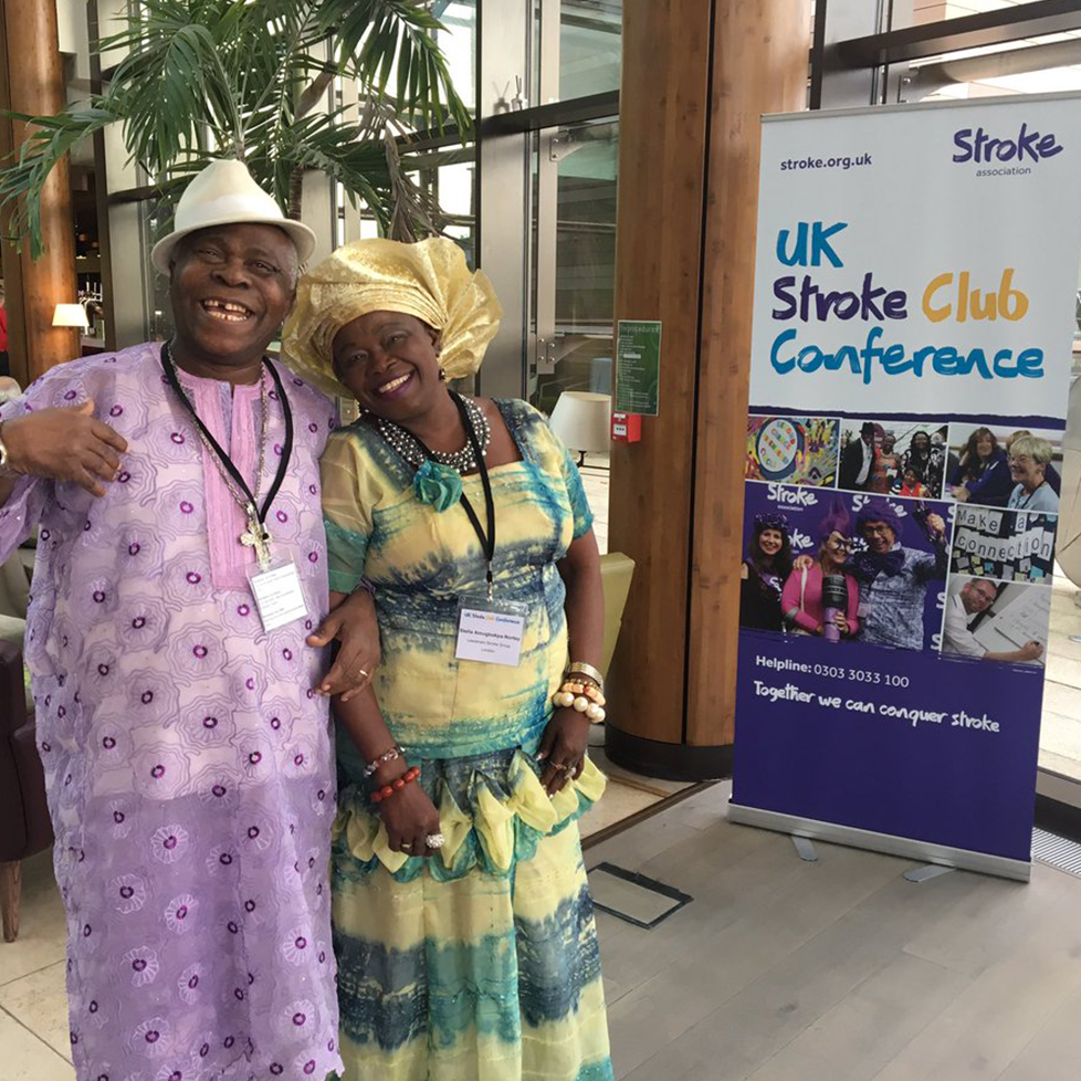 man and woman at uk stroke club conference