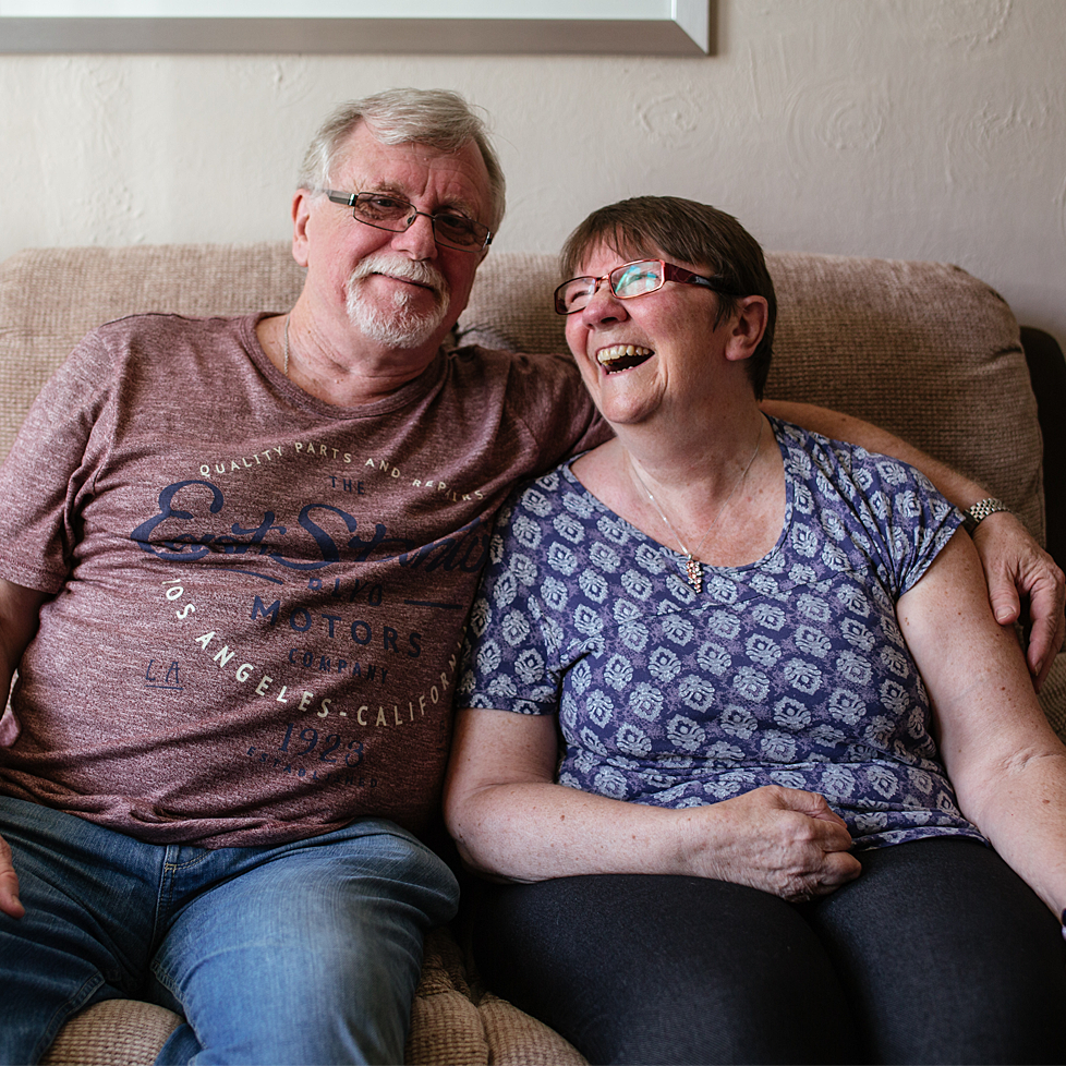 Lorraine and her husband laughing