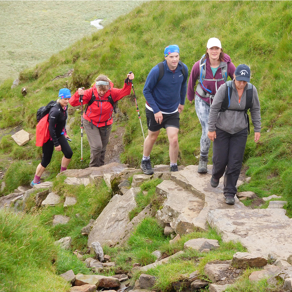 a group of walkers walking along a footpath